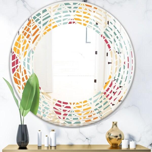 Designart 'Diamond Retro X' Modern Round or Oval Wall Mirror - Wave - Multi