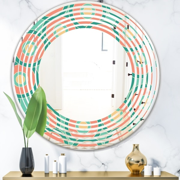 Designart 'Retro Circular Pattern VI' Modern Round or Oval Wall Mirror - Wave