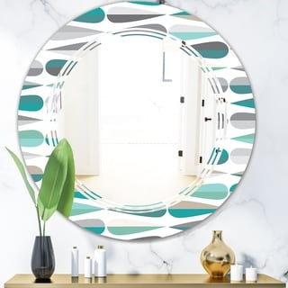Designart 'Retro Abstract Drops III' Modern Round or Oval Wall Mirror - Triple C