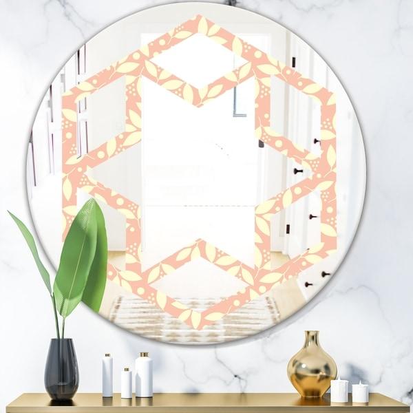 Designart 'Retro Floral Pattern V' Modern Round or Oval Wall Mirror - Hexagon Star