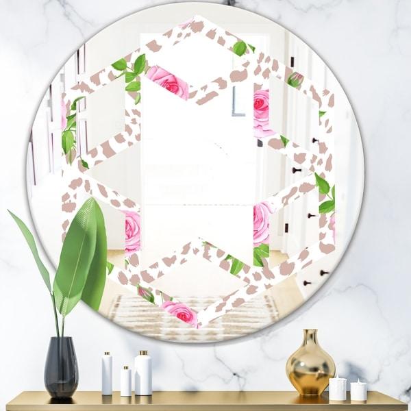 Designart 'Leopard Fur Safari IV' Modern Round or Oval Wall Mirror - Hexagon Star