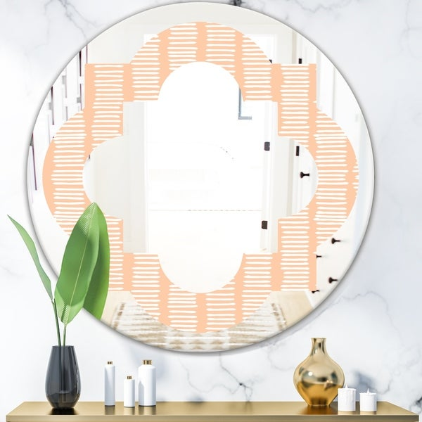 Designart 'Retro Abstract Lines Pattern' Modern Round or Oval Wall Mirror - Quatrefoil