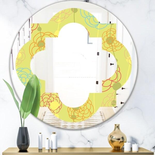 Designart 'Retro Handdrawn Flowers On Green Background' Modern Round or Oval Wall Mirror - Quatrefoil