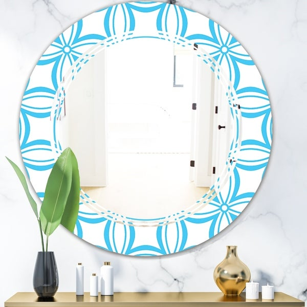 Designart 'Retro Pattern Abstract Design II' Modern Round or Oval Wall Mirror - Triple C
