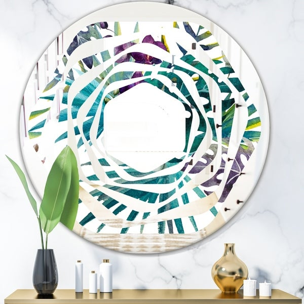 Designart 'Retro Floral Botanical Design II' Modern Round or Oval Wall Mirror - Whirl - Multi