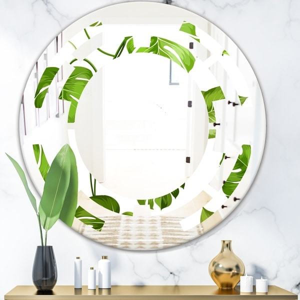 Designart 'Tropical Palm Leaves II' Modern Round or Oval Wall Mirror - Space