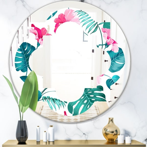 Designart 'Tropical Botanicals and Flowers' Modern Round or Oval Wall Mirror - Quatrefoil