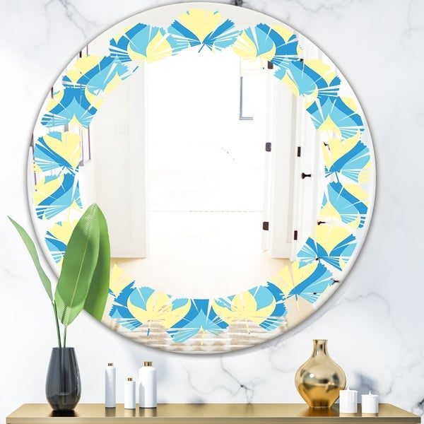 Designart 'Retro Pattern Abstract Design IX' Modern Round or Oval Wall Mirror - Leaves