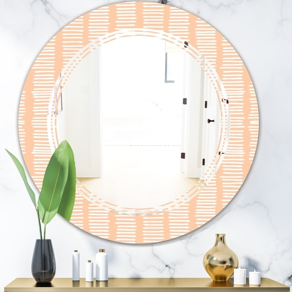 Designart 'Retro Abstract Lines Pattern' Modern Round or Oval Wall Mirror - Triple C