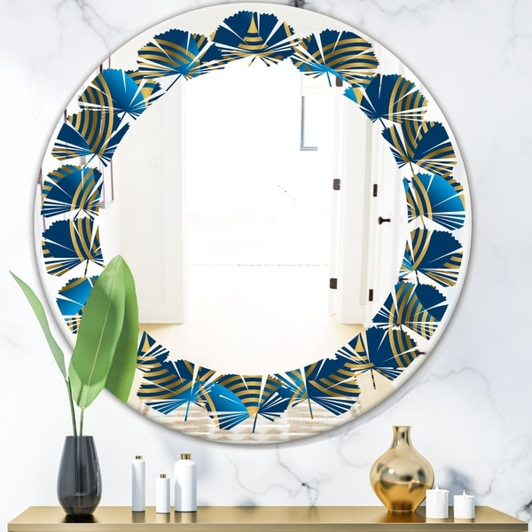 Designart 'Geometric abstract waves in gold and marine blue' Modern Round or Oval Wall Mirror - Leaves