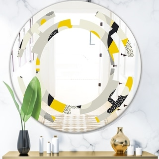 Designart 'Abstract Design Retro Pattern V' Modern Round or Oval Wall Mirror - Space