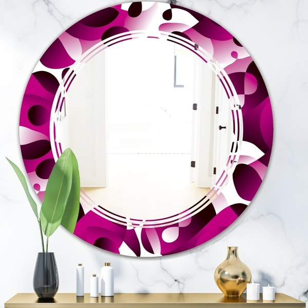 Designart 'Abstract Design Retro Pattern VI' Cottage Round or Oval Wall Mirror - Triple C