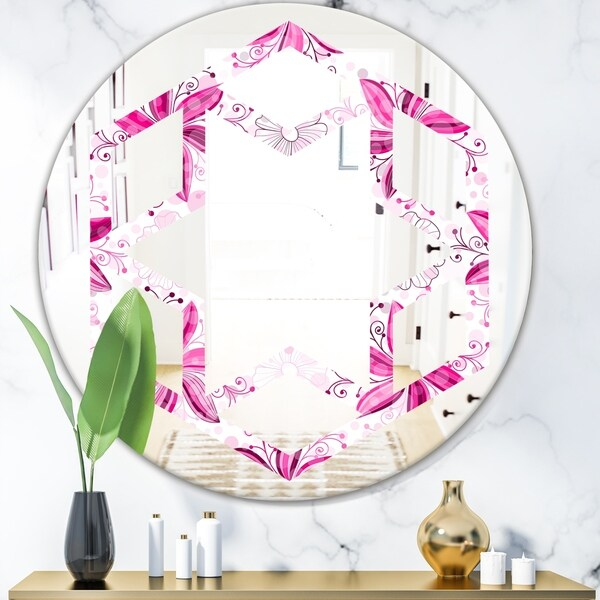 Designart 'Retro Floral Pattern XII' Modern Round or Oval Wall Mirror - Hexagon Star