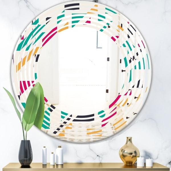 Designart 'Retro Geometric Design III' Modern Round or Oval Wall Mirror - Wave