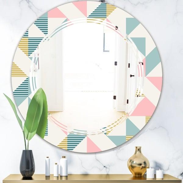 Designart 'Diamond Retro XI' Modern Round or Oval Wall Mirror - Triple C