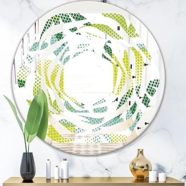 Designart 'Tropical Botanicals III' Modern Round or Oval Wall Mirror - Whirl
