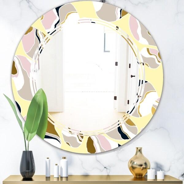 Designart 'Golden River Stones' Modern Round or Oval Wall Mirror - Triple C
