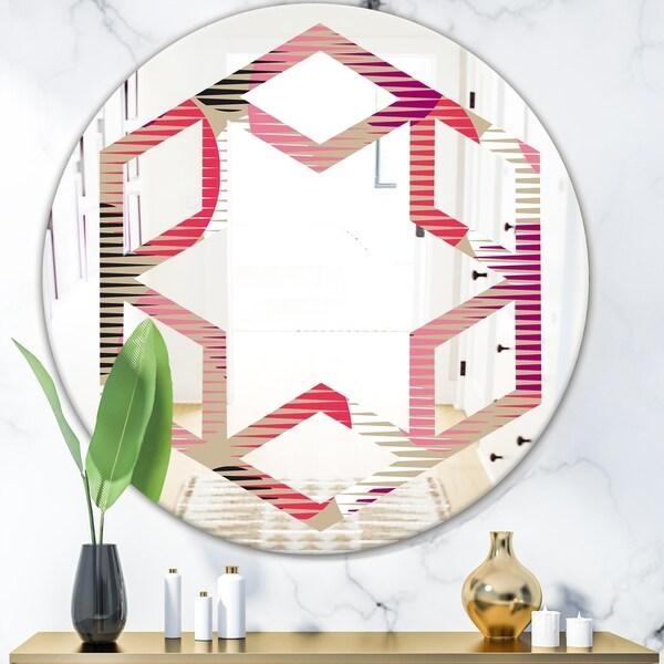 Designart 'Retro Circular Pattern VIII' Modern Round or Oval Wall Mirror - Hexagon Star