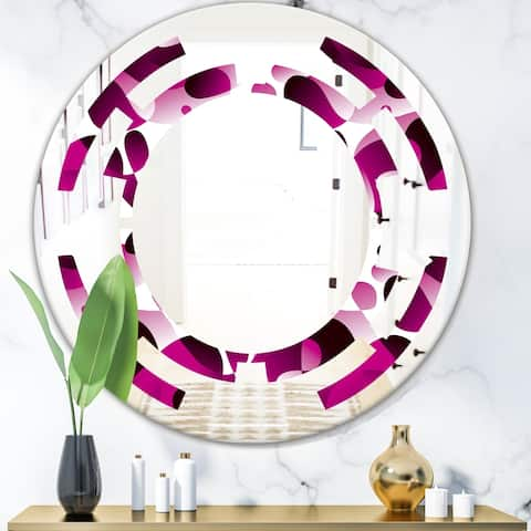 Designart 'Abstract Design Retro Pattern VI' Cottage Round or Oval Wall Mirror - Space