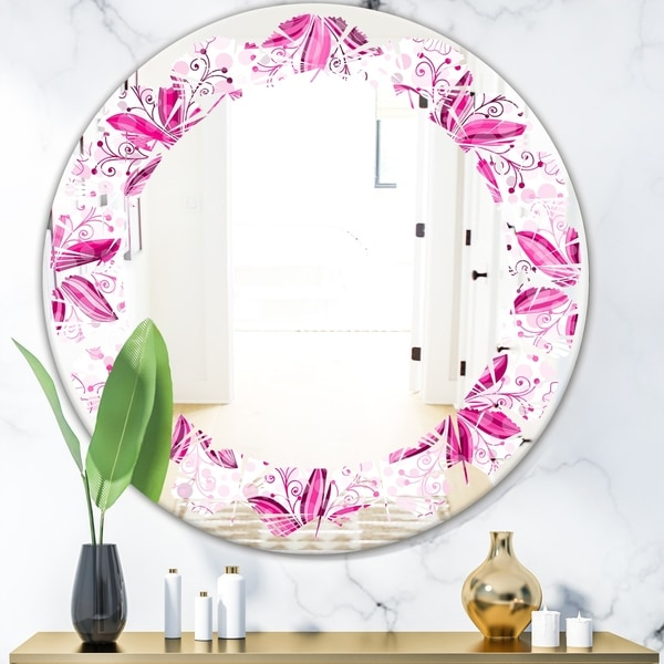 Designart 'Retro Floral Pattern XII' Modern Round or Oval Wall Mirror - Leaves