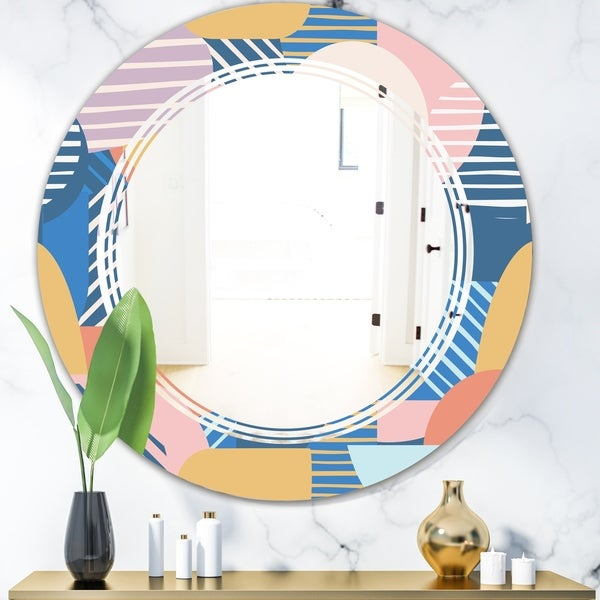 Designart 'Trendy Contemporary Geometry Shapes Pattern' Modern Round or Oval Wall Mirror - Triple C - Multi