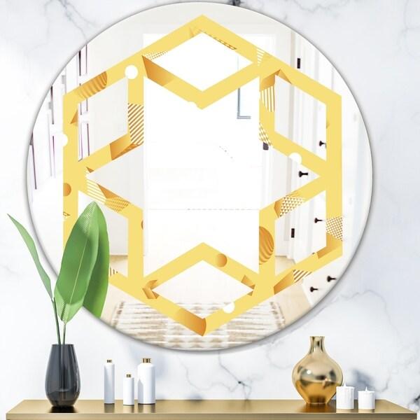 Designart 'Minimal Yellow Geometrical Shapes' Modern Round or Oval Wall Mirror - Hexagon Star