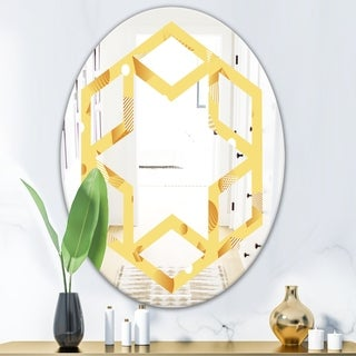 Design Artdesignart Minimal Yellow Geometrical Shapes Modern Round Or Oval Wall Mirror Hexagon Star 20 In Wide X 30 In High Dailymail