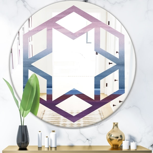 Designart 'Purple Rock Landscape III' Modern Round or Oval Wall Mirror - Hexagon Star