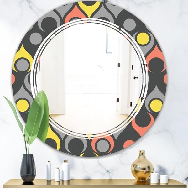 Designart 'Retro Abstract Drops I' Modern Round or Oval Wall Mirror - Triple C