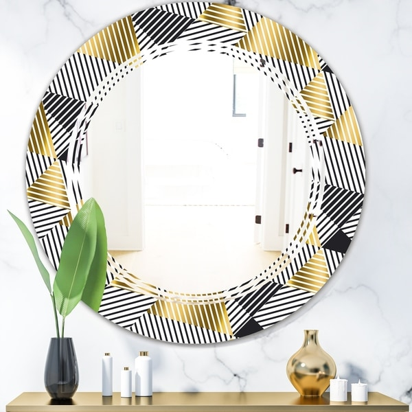 Designart 'Retro Luxury Waves In Gold and Blue VI' Modern Round or Oval Wall Mirror - Triple C