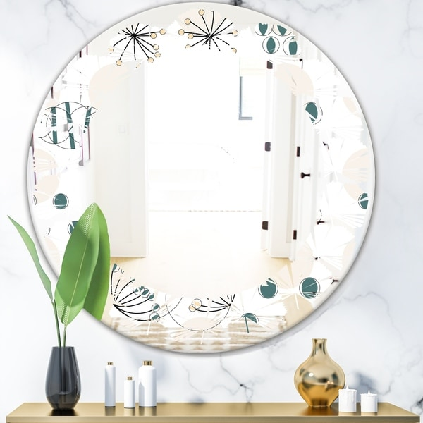 Designart 'Modern abstract geometric pattern' Modern Round or Oval Wall Mirror - Leaves