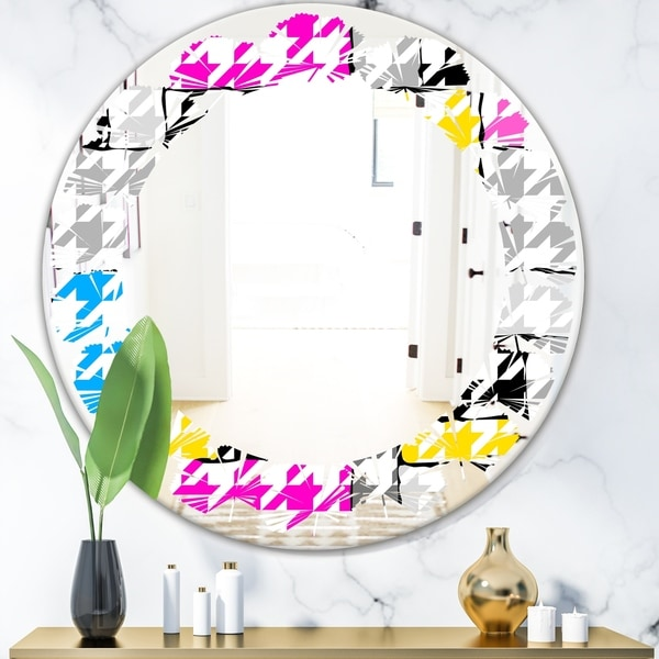 Designart 'Classic Hounds' Modern Round or Oval Wall Mirror - Leaves - Multi