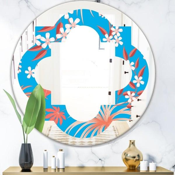 Designart 'Tropical Retro Foliage Coral II' Cottage Round or Oval Wall Mirror - Quatrefoil