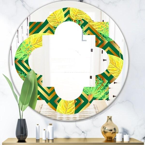 Designart 'Tropical Gold Luxury Pattern II' Modern Round or Oval Wall Mirror - Quatrefoil