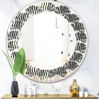 Designart 'Retro Geometrical Abstract Minimal Pattern V' Modern Round or Oval Wall Mirror - Leaves