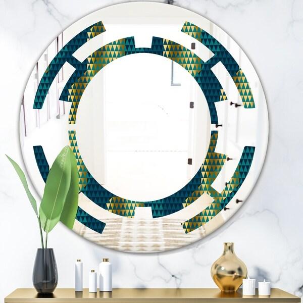 Designart 'Retro Hexagon Pattern V' Modern Round or Oval Wall Mirror - Space