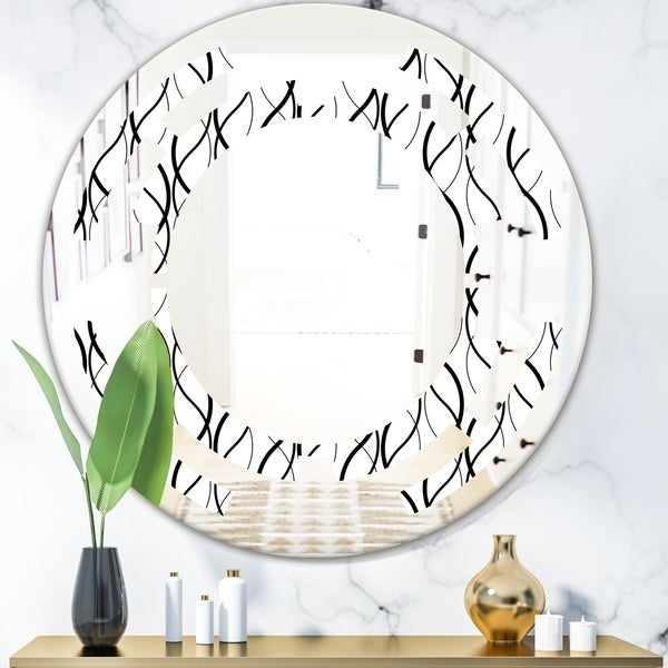 Designart 'Retro Geometrical Abstract Minimal Pattern X' Modern Round or Oval Wall Mirror - Space