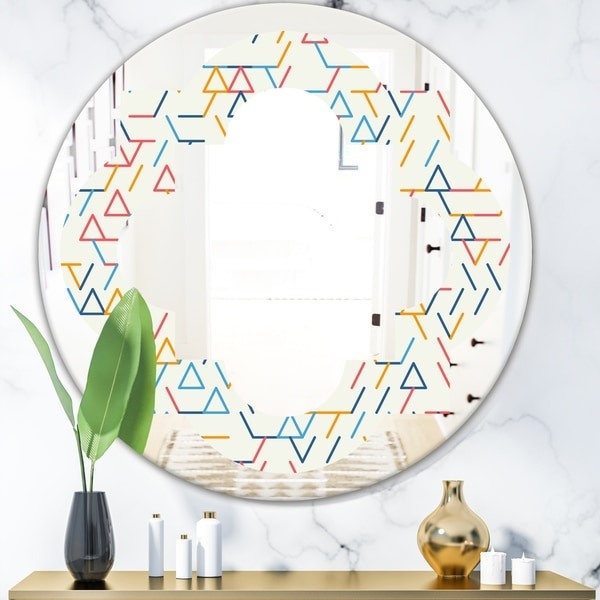 Designart 'Abstract geometric background. pattern.' Modern Round or Oval Wall Mirror - Quatrefoil