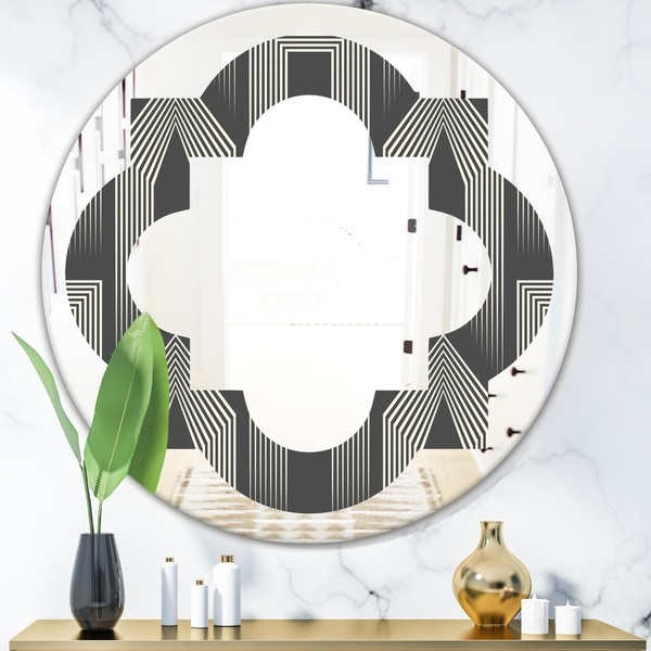 Designart 'Mimimal Black and White Design III' Modern Round or Oval Wall Mirror - Quatrefoil