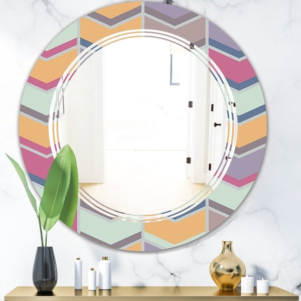 Designart 'Abstract Retro Geometrical Design X' Modern Round or Oval Wall Mirror - Triple C