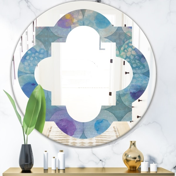 Designart 'Watercolor Geometrical Circles II' Modern Round or Oval Wall Mirror - Quatrefoil