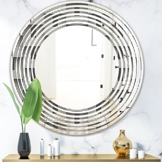 Designart 'Mimimal Black and White Design I' Modern Round or Oval Wall Mirror - Wave