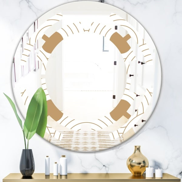 Designart 'Circular Retro Design' Modern Round or Oval Wall Mirror - Space