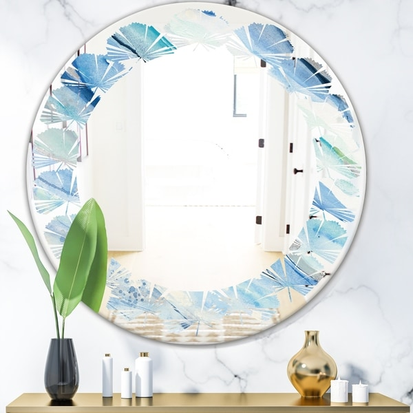 Designart 'Blue Silver Spring I' Modern Round or Oval Wall Mirror - Leaves