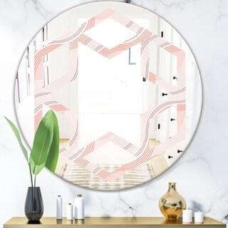 Designart 'Pink Elegant Pastel Waves' Modern Round or Oval Wall Mirror - Hexagon Star