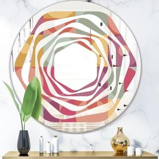 Designart 'Geometric Retro Minimal I' Modern Round or Oval Wall Mirror - Whirl
