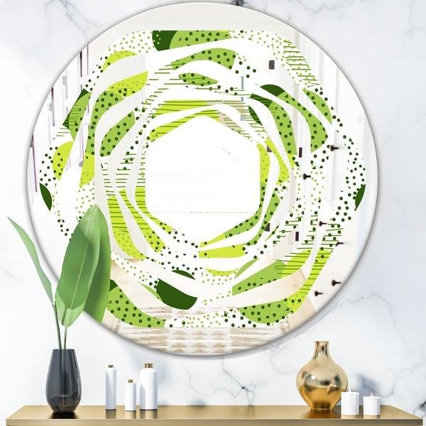 Designart 'Circular Abstract Retro Geometric X' Modern Round or Oval Wall Mirror - Whirl