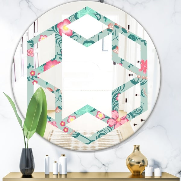 Designart 'Spring floral pattern in soft pastel colors' Modern Round or Oval Wall Mirror - Hexagon Star