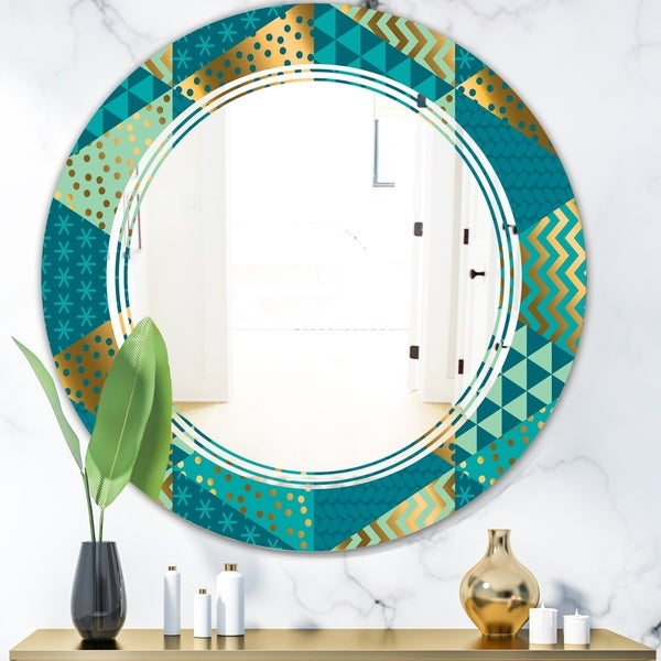 Designart 'Gold and Blue Dynamics I' Modern Round or Oval Wall Mirror - Triple C