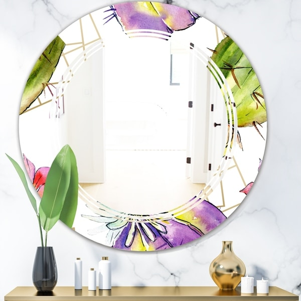 Designart 'Green Cactus Pattern' Cottage Round or Oval Wall Mirror - Triple C